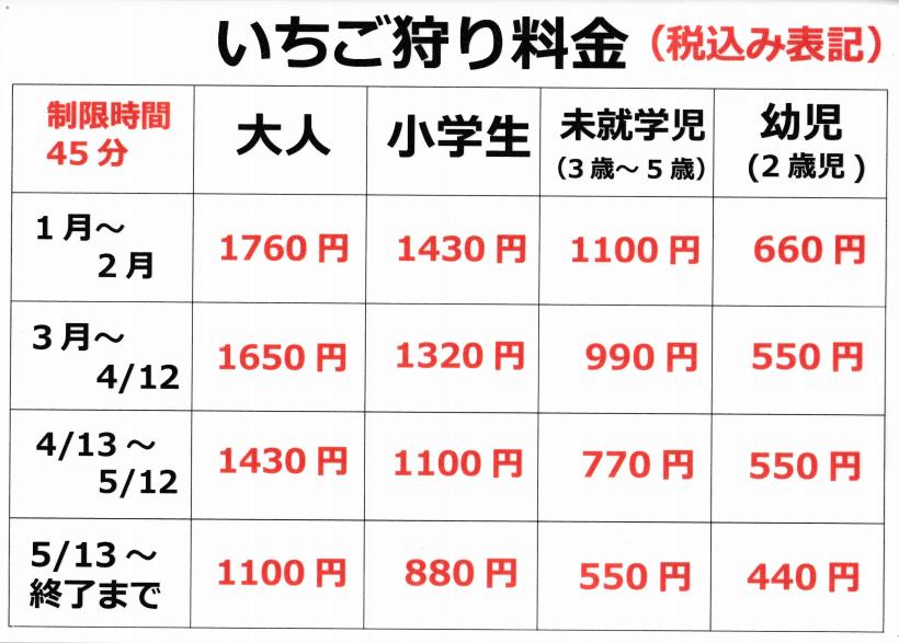 2021いちご狩り料金表,伊藤園芸
